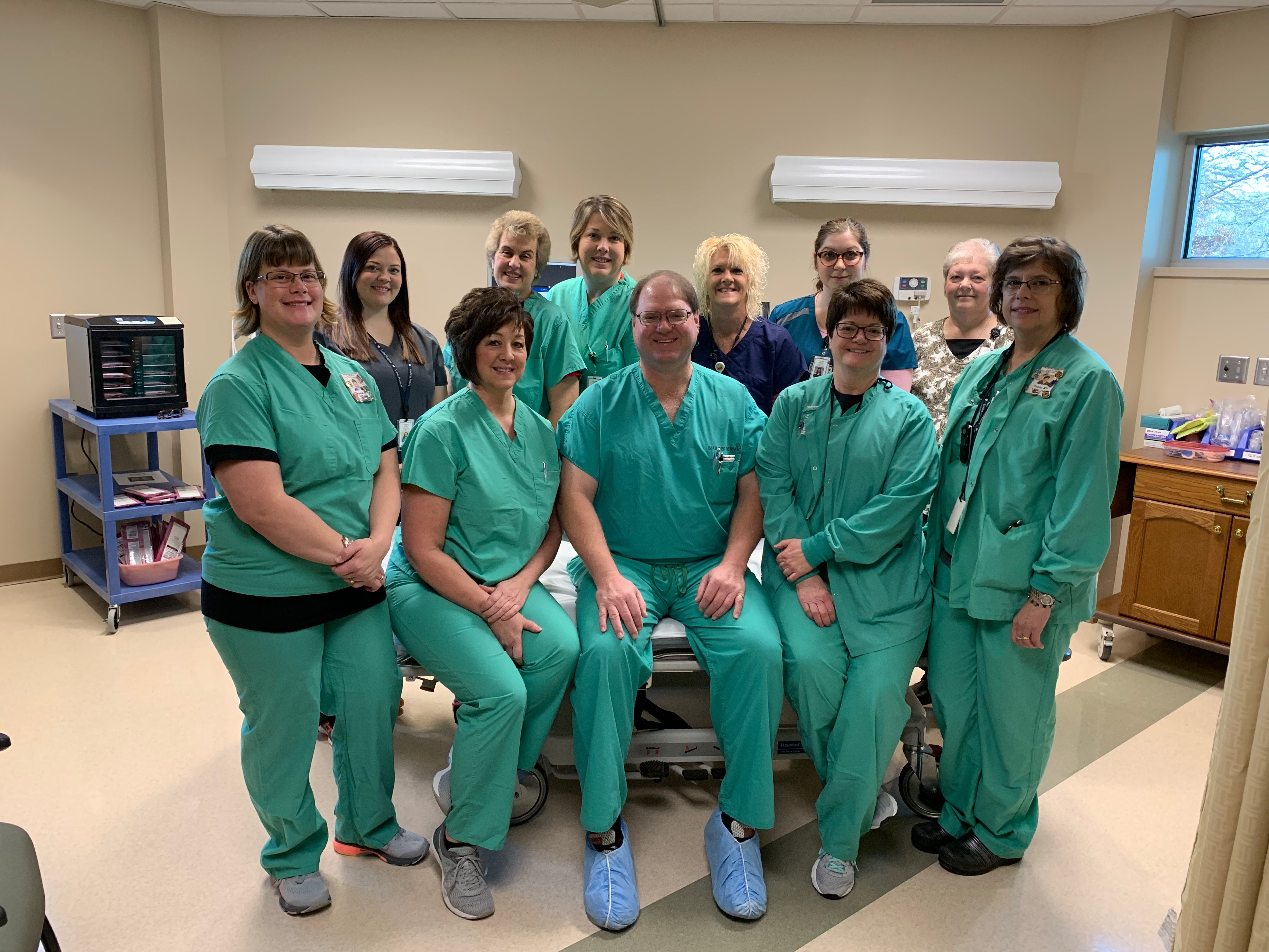 Dr. Ronald Cheney with Loring Hospital nurses